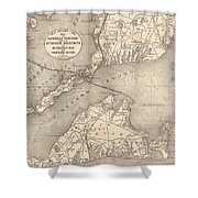 Vintage Cape Cod Old Colony Line Map  Shower Curtain