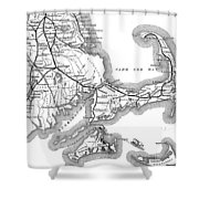 Vintage Cape Cod Old Colony Railroad Map Shower Curtain