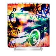 Vintage Car 1 Neons Edition Shower Curtain