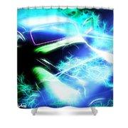 Vintage Car 20 Neons Edition  Shower Curtain