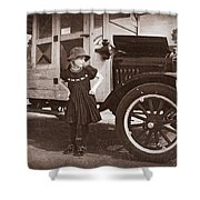 Vintage Car And Old Fashioned Girl Shower Curtain by Shawna Mac