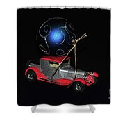 Vintage Car Carrying Christmas Ornament Shower Curtain