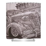 Vintage Car On The Street Shower Curtain