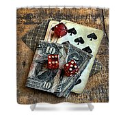 Vintage Cards Dice And Cash Shower Curtain