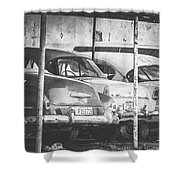 Vintage Cars At Night Bw Shower Curtain
