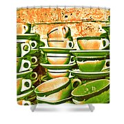 Vintage Cellar Tea Cups Painterly Shower Curtain