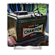 Vintage Champion Spark Plug Cleaner Shower Curtain