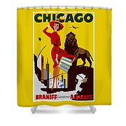 Vintage Chicago Travel Poster Shower Curtain