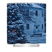 Vintage Christmas Church In Vermont Shower Curtain
