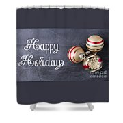 Vintage Christmas Ornaments With Copy Space Shower Curtain