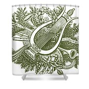 vintage Christmas poster musical instruments  Shower Curtain