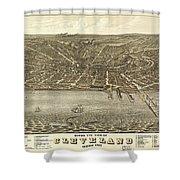 Vintage Cleveland Ohio Map Shower Curtain