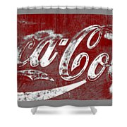 Coca Cola Red And White Sign Gray Border With Transparent Background Shower Curtain