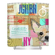 Vintage Collage Chihuahua Shower Curtain