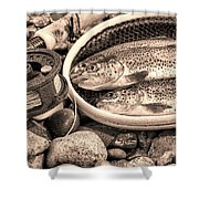 Vintage Concept Of Fly Reel And Pole With Trout In Net  Shower Curtain