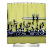 Vintage Corvette Sting Ray Emblem Shower Curtain