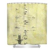 Vintage Croquet Patent Shower Curtain
