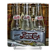 Vintage Double Dot Metal Pepsi Carrier. Shower Curtain