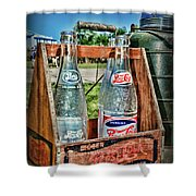 Vintage Double Dot Wooded Pepsi Carrier Shower Curtain