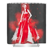 Vintage Dress Red Ball Gown - By Diana Van Shower Curtain