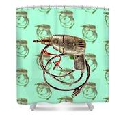 Vintage Drill Motor Green Trigger Pattern Shower Curtain
