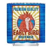 Vintage Early Bird Boiler Mash Feed Bag Shower Curtain