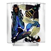 Vintage Entomology Bees Hornets Wasps Nature Illustration Shower Curtain