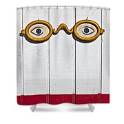 Vintage Eye Sign On Wooden Wall Shower Curtain
