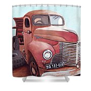 Vintage Fire Truck Watercolor Painting In A Local Scrapyard Shower Curtain