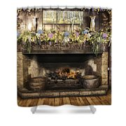 Vintage Fireplace Shower Curtain