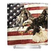 Vintage Flag With Eagle Shower Curtain