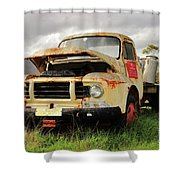 Vintage Flatbed Milk Truck Portrait Shower Curtain