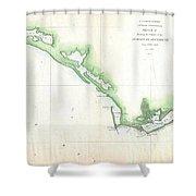Vintage Florida Panhandle Coastal Map - 1852 Shower Curtain