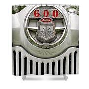 Vintage Ford 600 Nameplate Emblem Shower Curtain