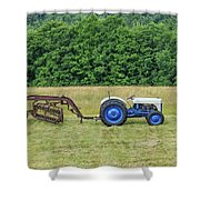 Vintage Ford Blue And White Tractor On A Farm Shower Curtain