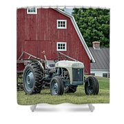Vintage Ford Farm Tractor With Red Barn Shower Curtain