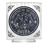 Vintage French Cheese Label 1 Shower Curtain