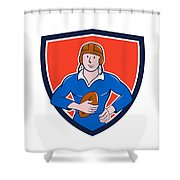 Vintage French Rugby Player Holding Ball Crest Cartoon Shower Curtain