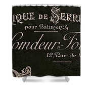 Vintage French Typography Sign Shower Curtain