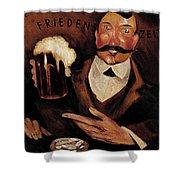 Vintage German Beer Advertisement, Friends Drinking Bier Shower Curtain