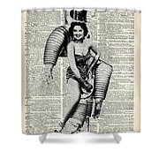 Vintage Girl In Robot Costume Shower Curtain