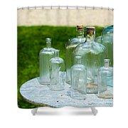 Vintage Glass Bottles On Table Shower Curtain