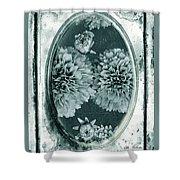 Vintage Glass Cyanoplate Dahlias Shower Curtain