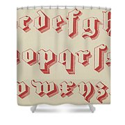Vintage Gothic Font Red Shower Curtain