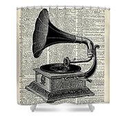 Vintage Gramophone Shower Curtain by Anna W