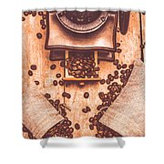 Vintage Grinder With Sacks Of Coffee Beans Shower Curtain