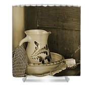 Vintage Grooming Set And Stoneware Water Pitcher In Sepia Tones Shower Curtain