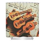 Vintage Guitars On Music Sheet Shower Curtain