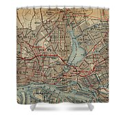 Vintage Hamburg Railway Map - 1910 Shower Curtain