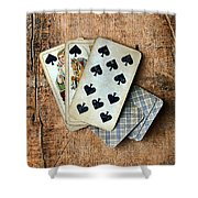 Vintage Hand Of Cards Shower Curtain
